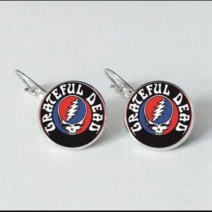Grateful Dead Glass Round Drop Earrings